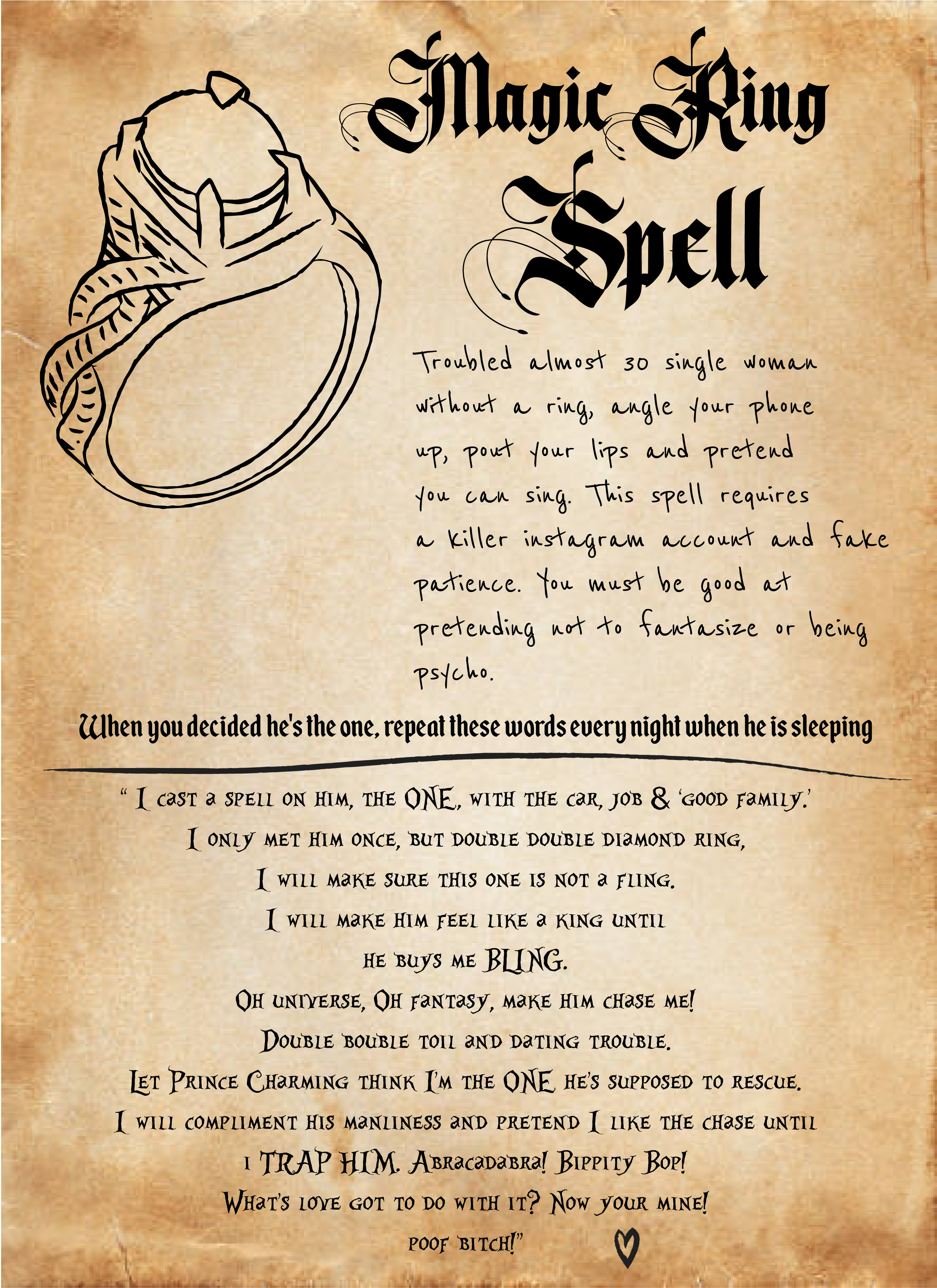 i put a spell on you! magic spell to get a diamond ring. — the last